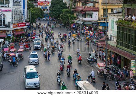 Rush Hour With Dense Traffic In Hanoi City Centre