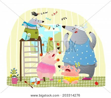 Baby sitter and noisy crying playing children at home. Vector illustration.