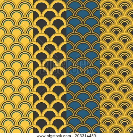 seamless pattern in Asian style, fish scale and wave