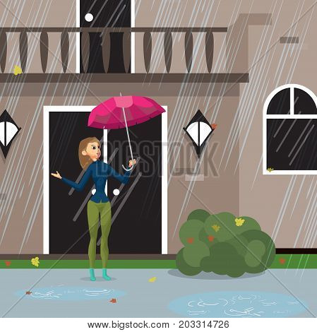 Young woman comes out of the house with an umbrella during the rain. Girl in the city in the fall. Flat cartoon vector illustration