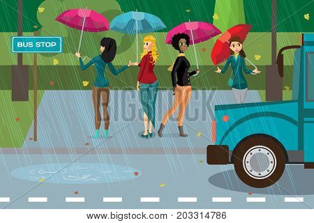 Women under umbrellas in the rainy autumn weather are at the bus stop. Flat cartoon vector illustration