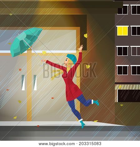 Young woman holding her umbrella in the wind. Girl in the fall during bad weather in the rainy evening in the city. Flat cartoon vector illustration