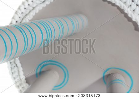 Handmade Stool In Gray With Blue Pattern With White Material.