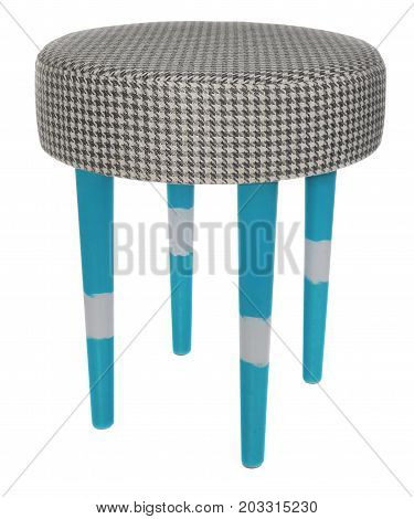 Handmade Stool In Blue White Stripes With Black And White Pattern Material.