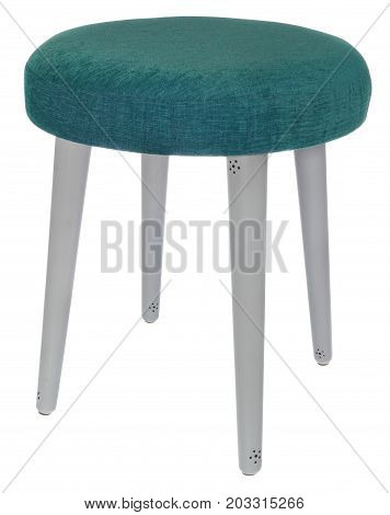 Handmade Stool In Gray Colour With Black Dots With Green Sea Color Material.