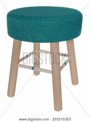 Handmade Stool In Creamy, Blue And White Colors With Green Sea Color Material.
