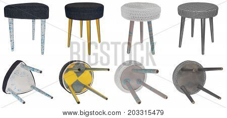 Handmade Stool In Various Designs And Colors. Triangular And Round Shapes Of Seats.