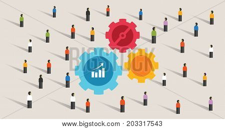 crowd and gears machine cogs working together team work collaboration company cooperation vector