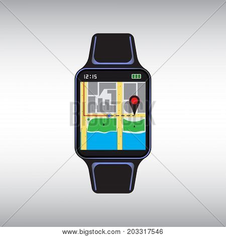 Black smart watch with a geolocation map on the screen. Isolated smart watch sign. Smart watch flat vector icon.