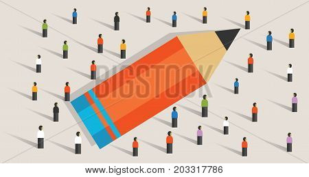 pencil concept of education crowd working together learning study strength as a team unity helping multicultural vector