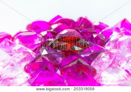 Colorful Gems On White Background