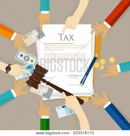 Tax law gavel hammer with money and paper court of financial dispute revenue income financial verdict pay settlement penalty vector