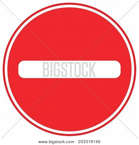 Red no entry road sign british color colorful english