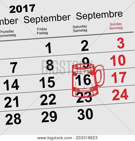 September 16, 2017 Oktoberfest. Calendar beer mug reminder icon. Vector illustration