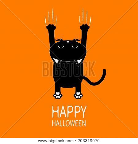 Happy Halloween Greeting card. Cartoon black cat. Back view with head. Red bloody claws animal scratch scrape track. Cute funny character. Orange background. Isolated. Flat design. Vector illustration