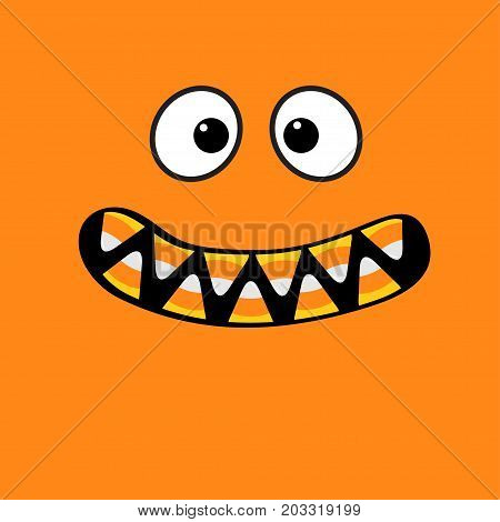 Scary monster face emotions. Vampire tooth fang. Big eyes mouth with candy corn teeth. Happy Halloween. Baby Greeting card. Flat design style . Orange background. Vector illustration