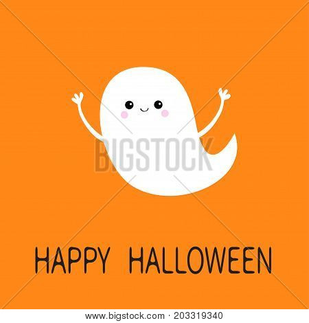 Flying ghost spirit . Happy Halloween. Scary white ghosts. Cute cartoon spooky character. Smiling face frightening scaring hands. Orange background. Greeting card. Isolated. Flat design. Vector