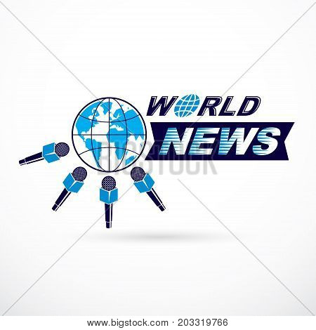 Social telecommunication theme vector logo created with blue Earth planet illustration surrounded with microphones and composed using world news inscription. Press conference concept.