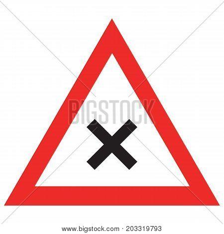 Triangular crossroads road sign alert background black caution caution sign