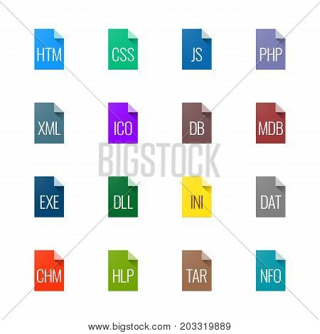 File type icons. File extensions vector illustration. File type and document types in line style. Popular file formats signs. Professional vector icons for websites, applications and code file types.