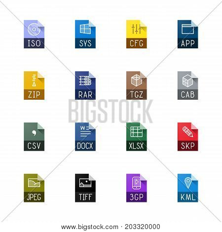 File type icons. File extensions vector illustration. File type and document types in line style. Popular file formats signs. Professional vector icons for text, system, archive and image file types.