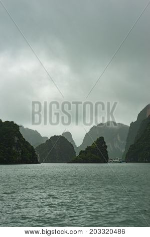 Scenic Karst Islands Of Halong Bay On Mist