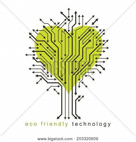 Vector illustration of tree in the shape of heart created with wireframe and arrows as branches. Green innovations theme.