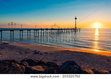 Brighton Beach jetty silhouette at sunset South Australia