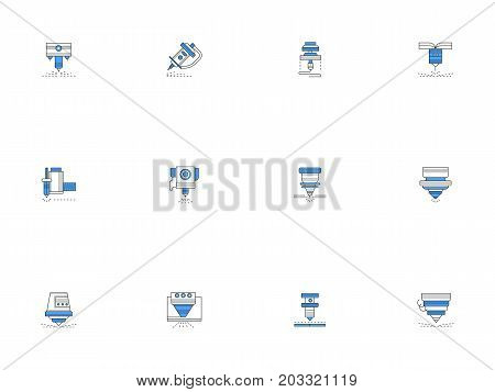 Laser machine nozzles for different processing of metal, workpieces, plastic. Industrial technology concept. Set of flat outline design vector icons.