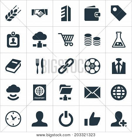 Elements Folder Network, Time, Fork With Knife And Other Synonyms Network, Wheat And Folder.  Vector Illustration Set Of Simple B2B Icons.
