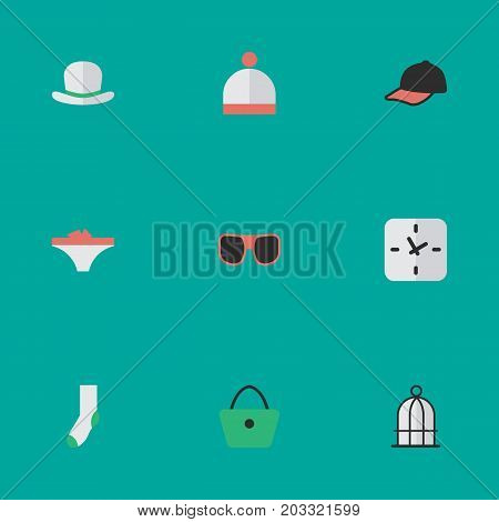 Elements Headgear, Woman Bag, Time And Other Synonyms Sock, Glasses And Fedora.  Vector Illustration Set Of Simple Instrument Icons.