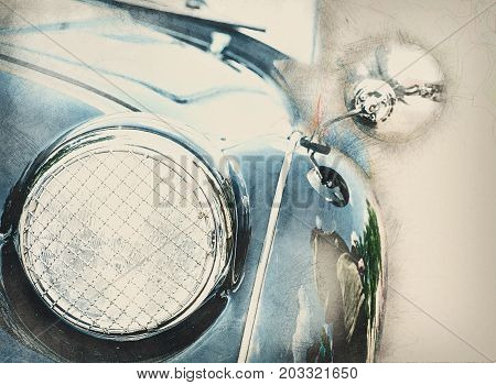 Detail view of the headlight. Illustration of retro blue car. Pencil drawing. Front light. Circle headlamp.