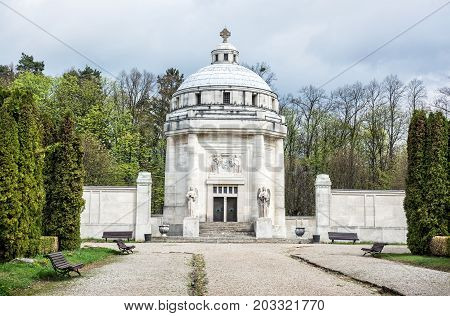 Mausoleum of The Andrassy family near castle Krasna Horka Slovak republic. memorial architecture.