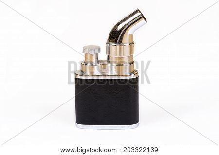 Gasoline lighter metal and leather lighter isolated on white background