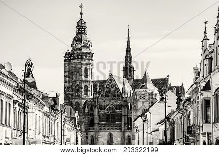 Spectacular St. Elisabeth cathedral in Kosice Slovak republic. Architectural scene. Black and white photo. Travel destination.