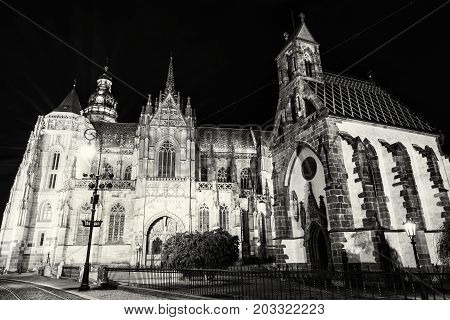 Spectacular St. Elisabeth cathedral and St. Michael chapel in Kosice Slovak republic. Architectural scene. Night photo. Black and white photo.