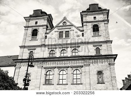 Church of the Holy Trinity in Kosice Slovak republic. Religious architecture. Black and white photo.