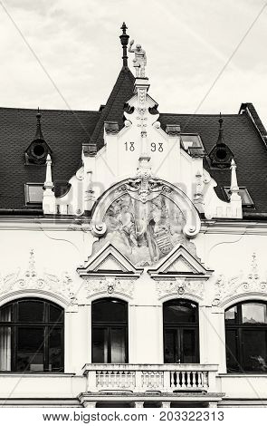 The Beggar's house in Kosice Slovak republic. Architectural scene. Black and white photo.