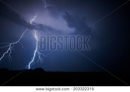 lightning in a stormy sky at night