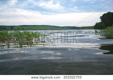 Summer cloudy day on a pond landscape
