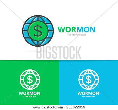 Vector of world and dollar logo combination. Unique globe and bank logotype design template.