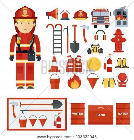Set of fire equipment. Vector fire man tools . Flat cartoon fire equipment objects isolated on white background. Fire safety objects.