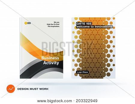Design of business vector template, brochure, abstract annual report, cover modern layout, flyer in A4 with yellow soft rounded shapes, abstract rounds for finance, catalogue with background. Set