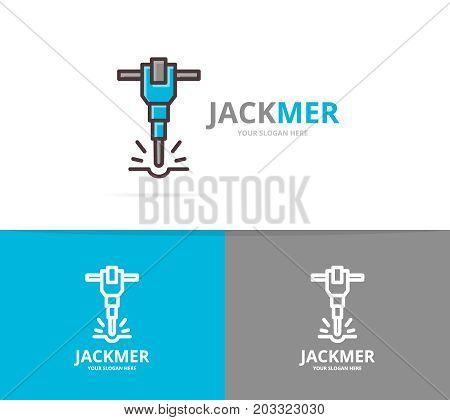 Vector of jackhammer and construction logo design template.