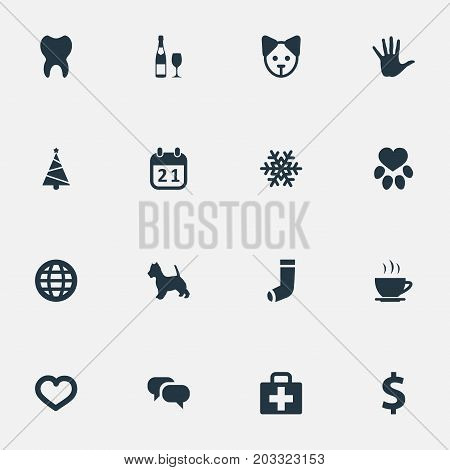 Elements Money, Message, Alcohol And Other Synonyms Paw, Soul And Christmas.  Vector Illustration Set Of Simple Brood Icons. poster