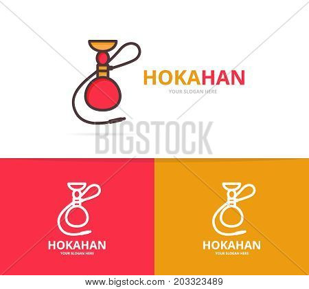 Vector of hookah logo. Unique shisha and turkish smoke logotype design template.