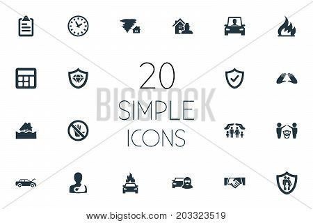 Elements Automobile Explosion, Accounting, Prohibited And Other Synonyms Weather, Collision And Insured.  Vector Illustration Set Of Simple Insurance Icons.