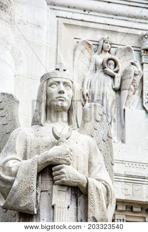 Detail photo of statues in mausoleum of The Andrassy family near castle Krasna Horka Slovak republic. Memorial architecture.