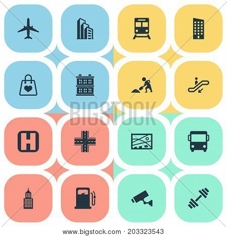 Elements Supervision, Airplane, Autobus And Other Synonyms Worker, Station And Cityscape.  Vector Illustration Set Of Simple City Icons.
