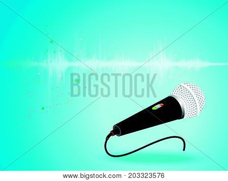 Abstract digital sound wave oscillating with Microphone background vector illustration.